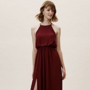 BHLDN Cayenne Wine Maxi Dress w Leg slit
